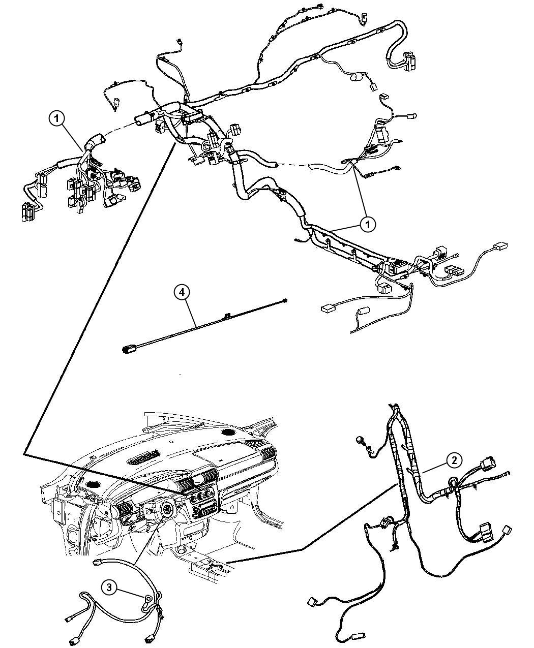 Chrysler Sebring Wiring. Steering wheel. Trim: [all trim