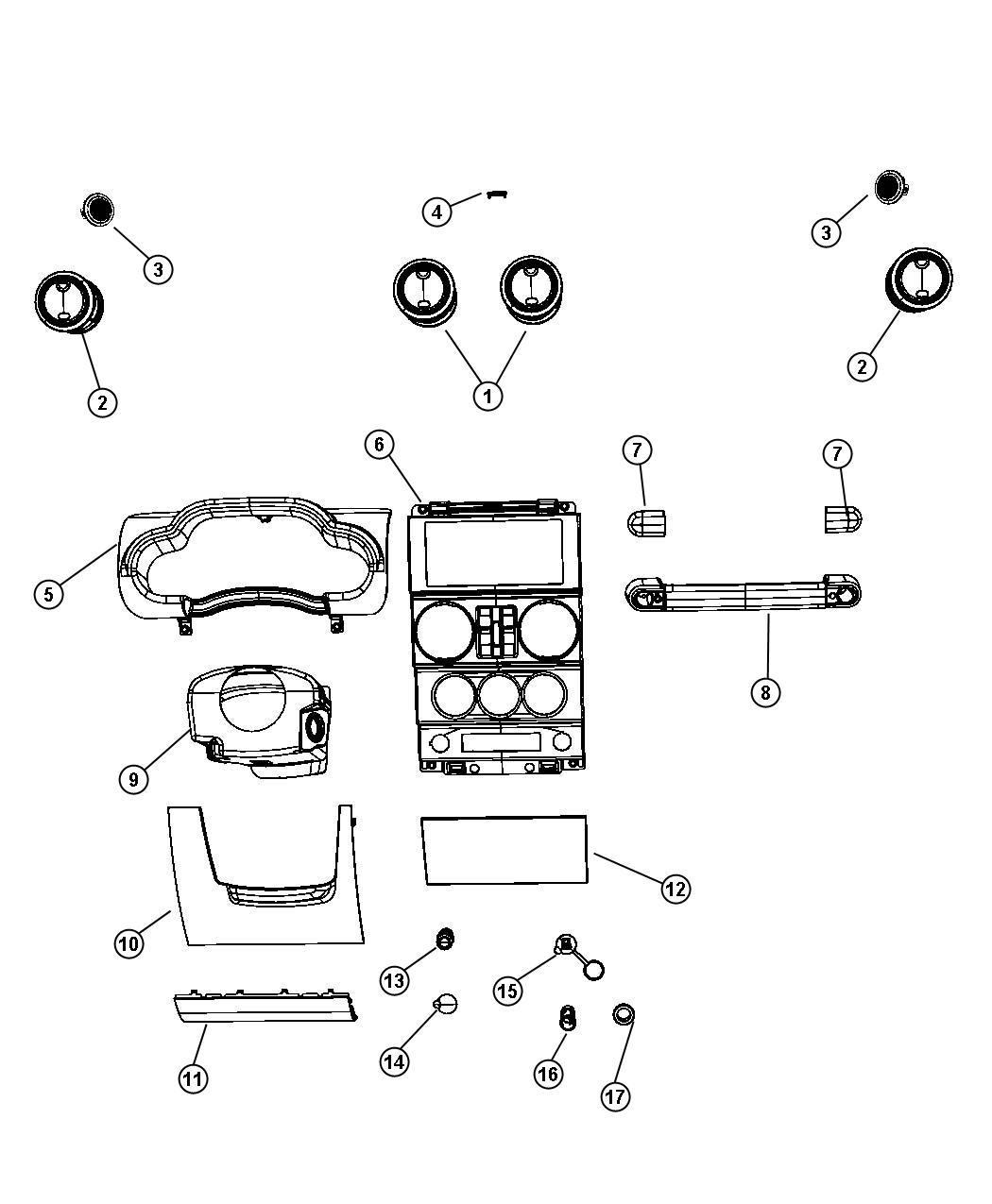 Jeep Wrangler Bezel. Instrument panel. Center. [manual