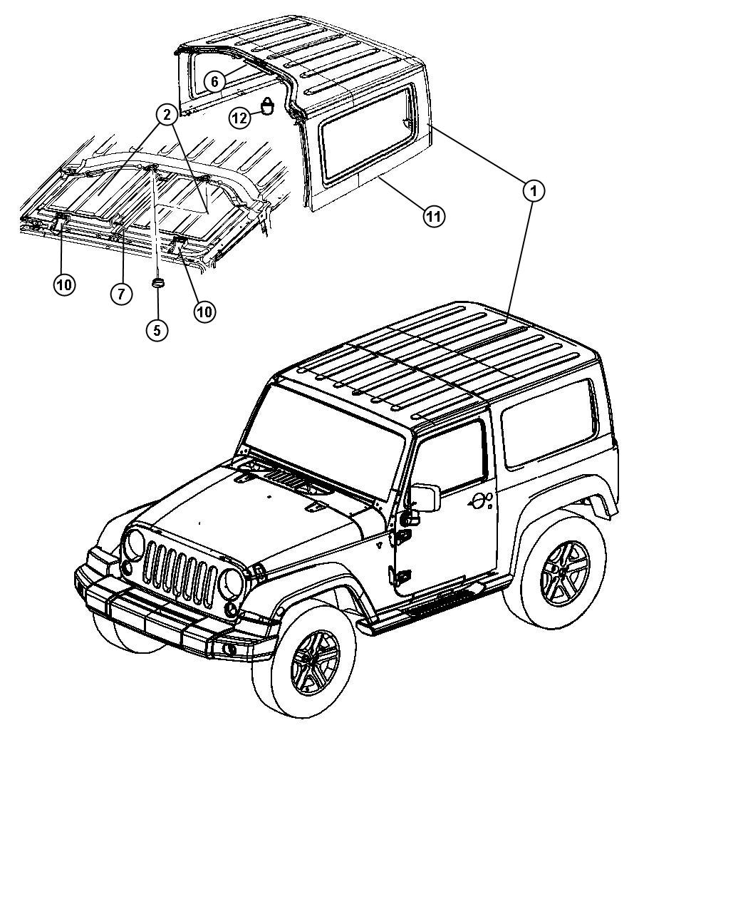 Jeep Wrangler Bracket Ballstud Body Color Hard Top