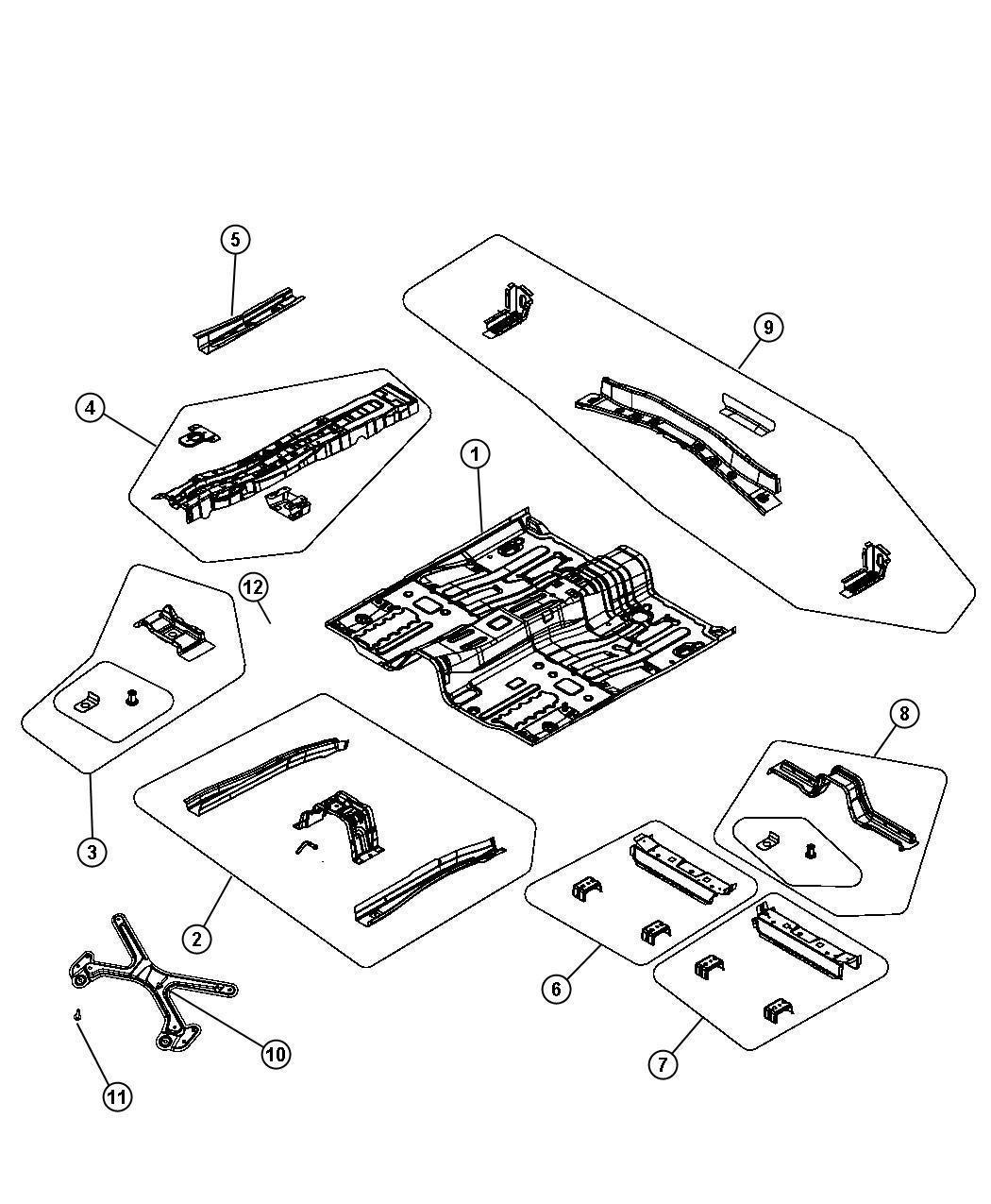 Chrysler Sebring Reinforcement. Floor pan. Right. Front