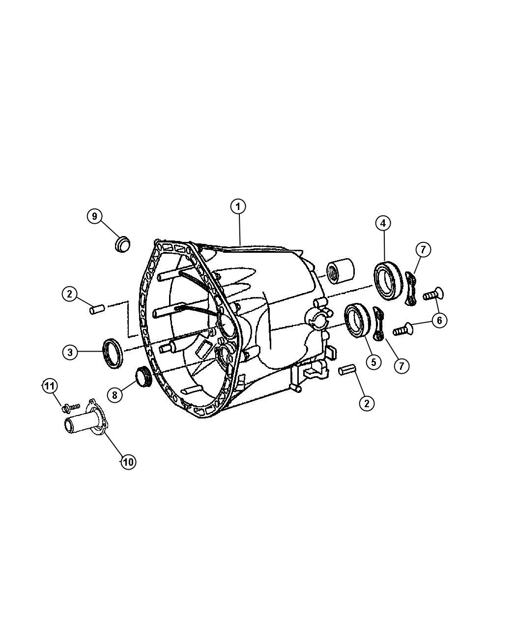 Jeep Wrangler Plug. Expansion. Case, related, front