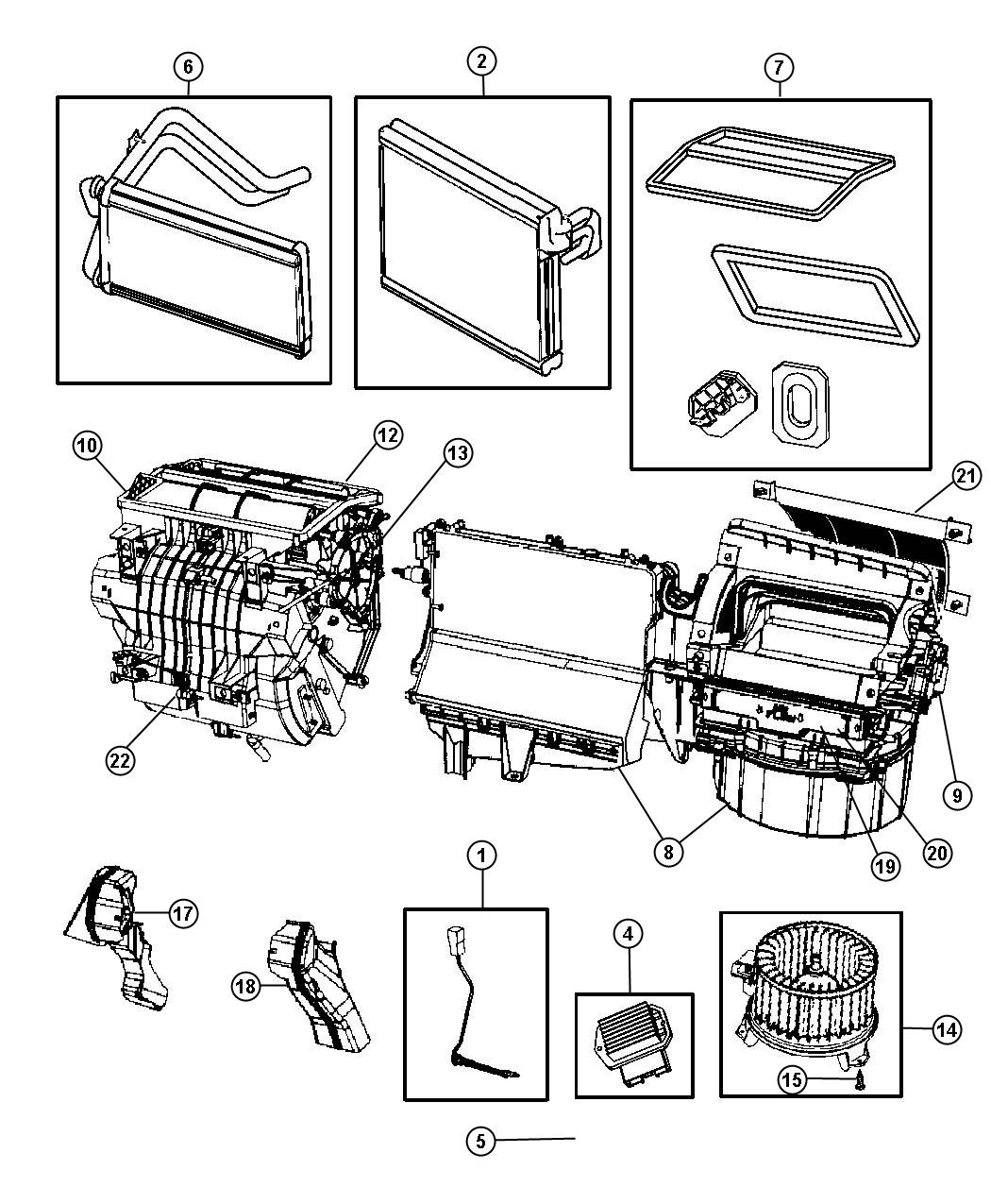 Jeep Patriot Evaporator. Air conditioning. Panel, module