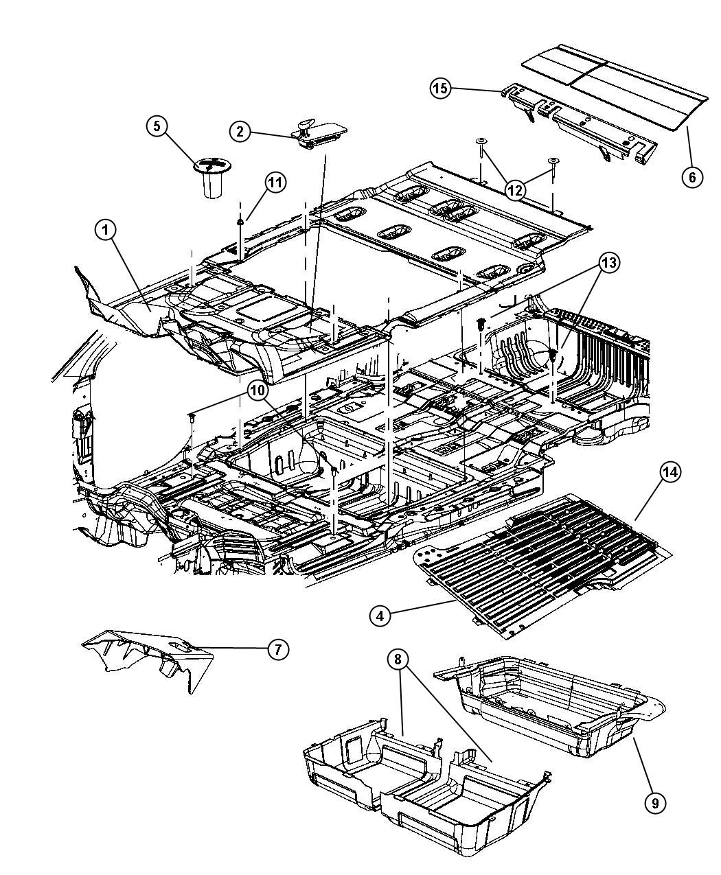 Dodge Grand Caravan Mat kit. Floor. [ll], [2nd row fixed