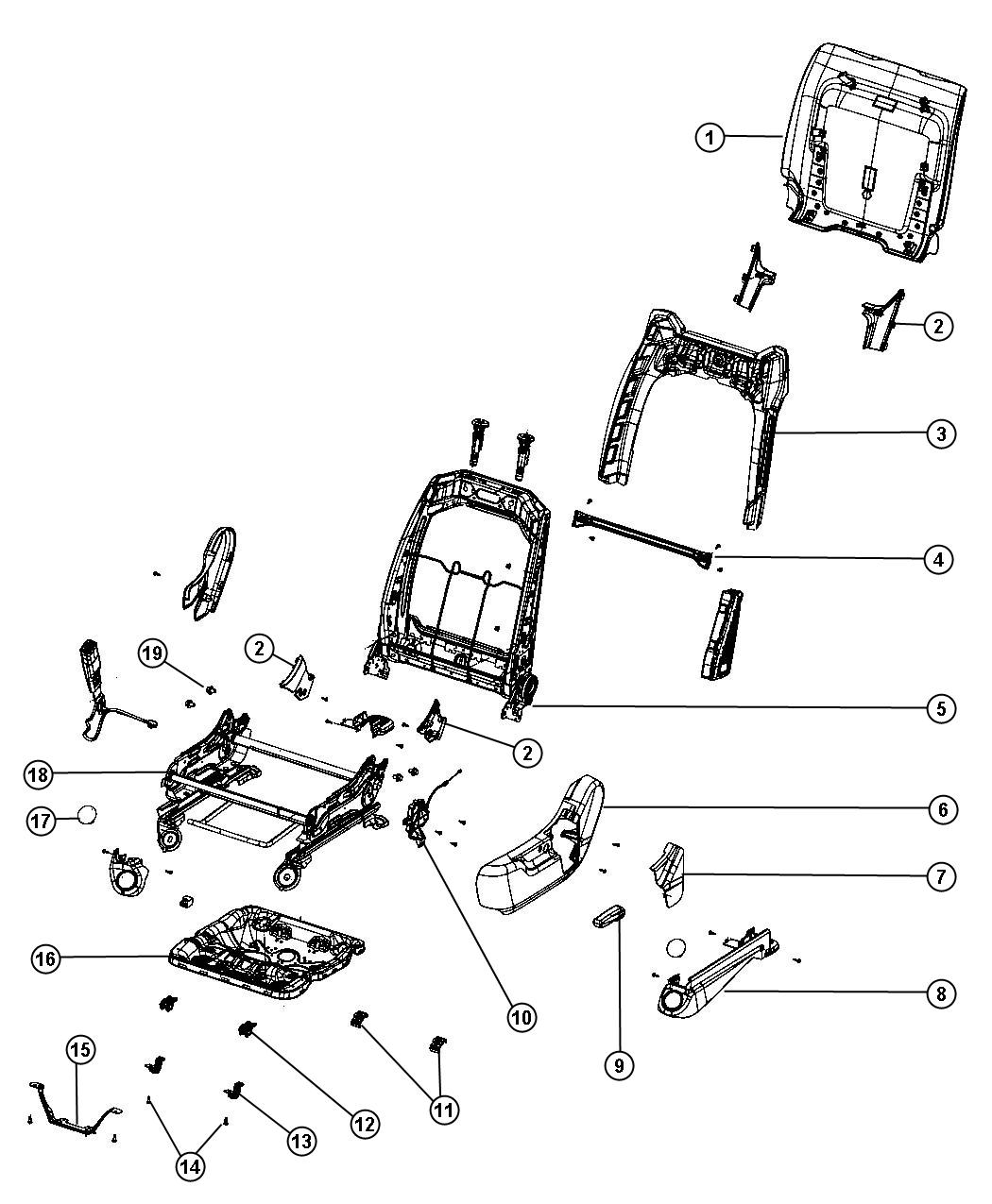 Dodge Durango Cover, shield. Seat recliner, seat riser