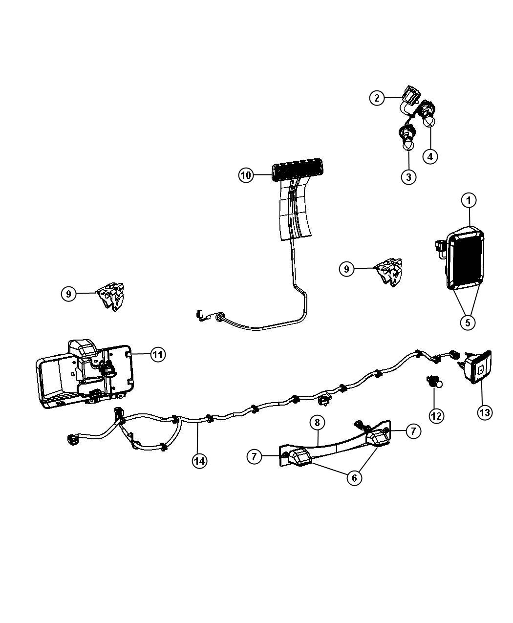 Jeep Wrangler Wiring. Tail lamp, taillamp. Export, left