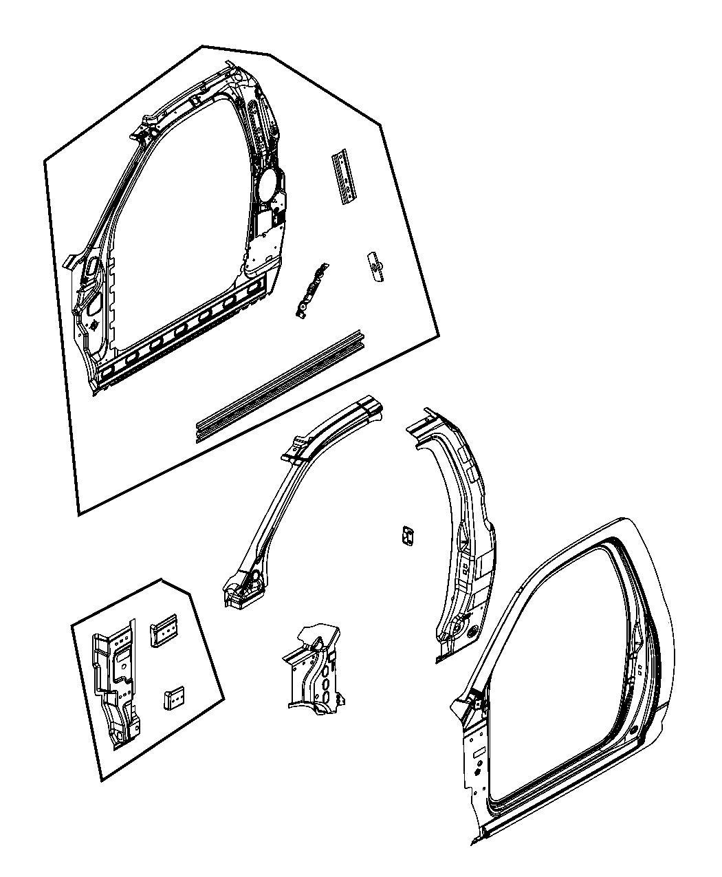 Ram 3500 Reinforcement. A-pillar. Left. Panel, aperture