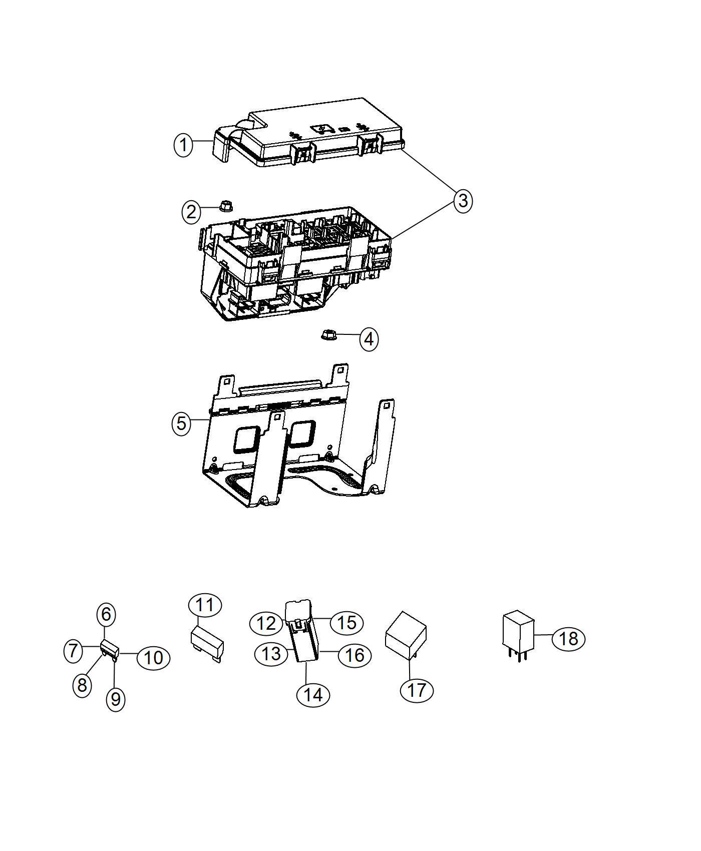 Dodge Grand Caravan Holder. Fuse. Includes 60 amp j case