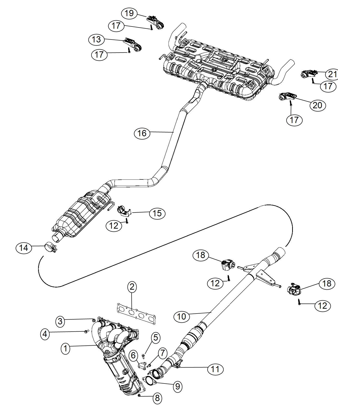 Chrysler 200 Gasket. Catalytic converter, exhaust. Export