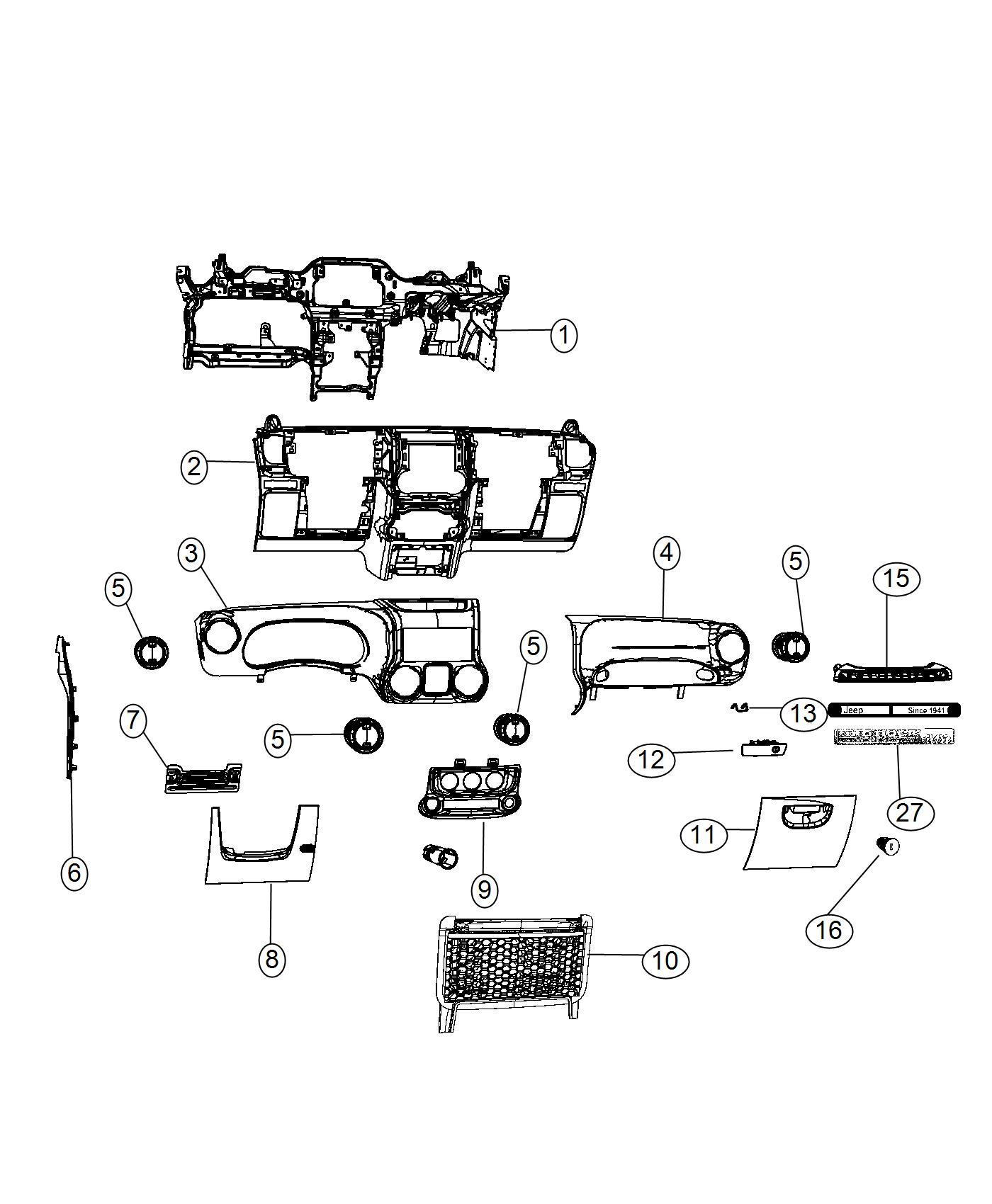 Jeep Wrangler Reinforcement. Instrument panel. Trim: [no