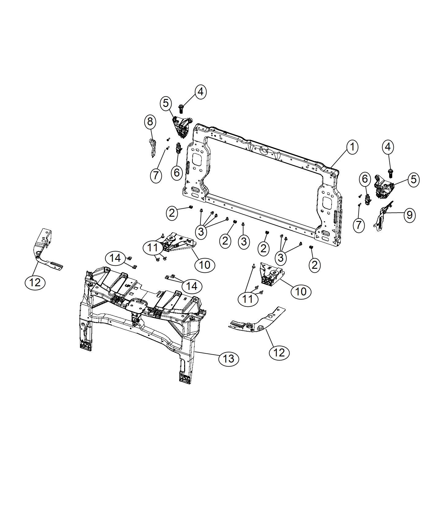 Chrysler 200 Bracket kit. Radiator. Upper. Support, module