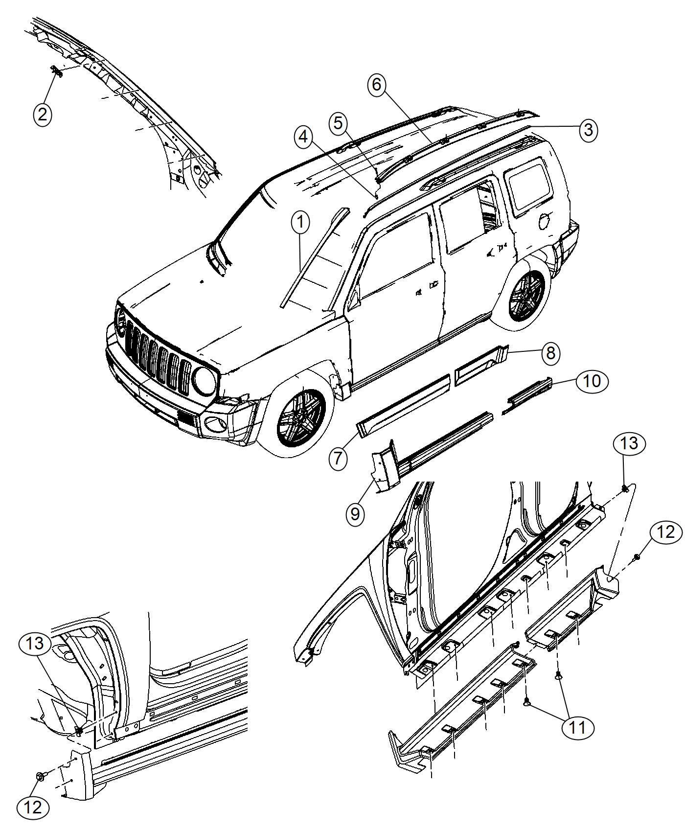 Jeep Patriot Side rail. Roof rack. Left. [mineral gray