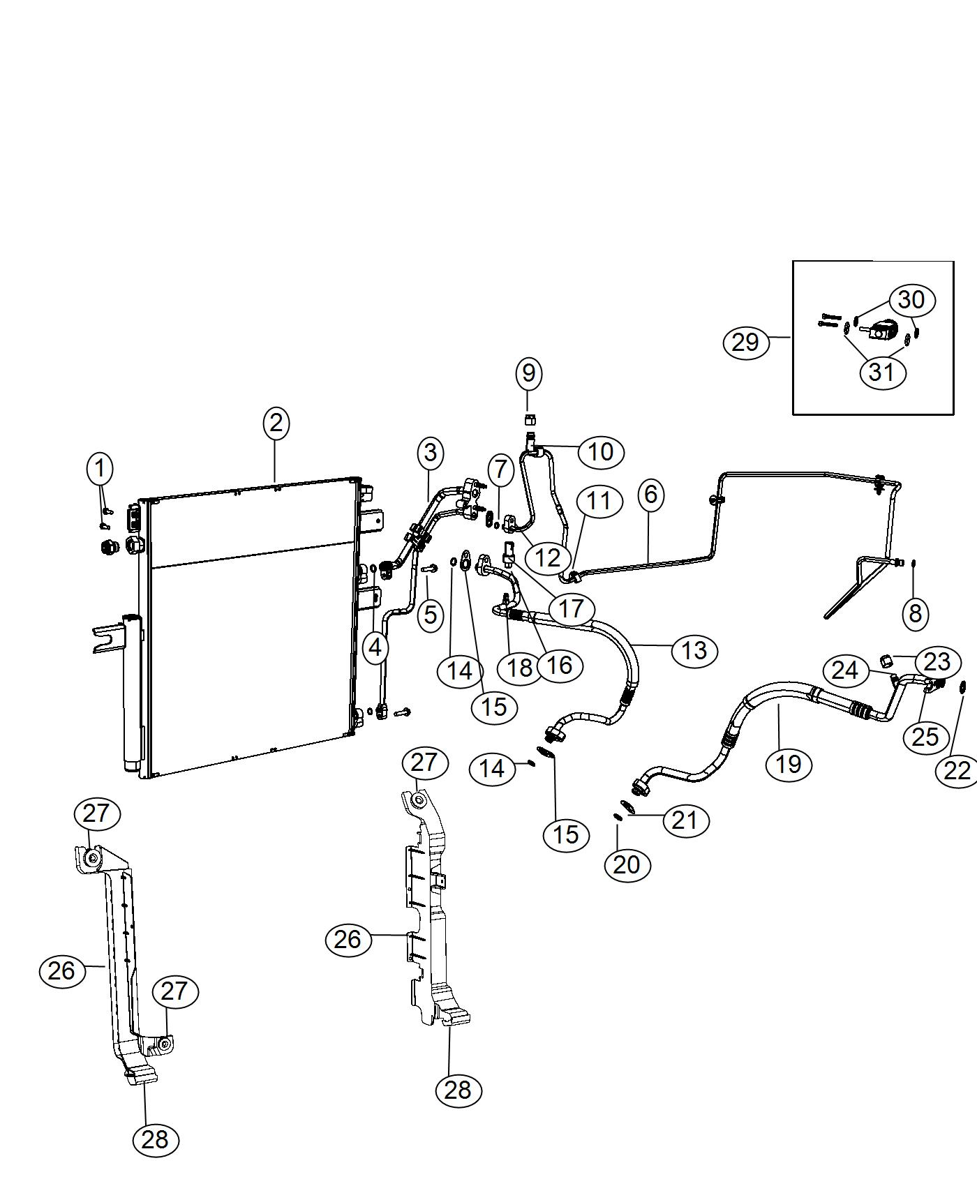 Ram 4500 Bracket. Radiator to condenser. Left. Plumbing