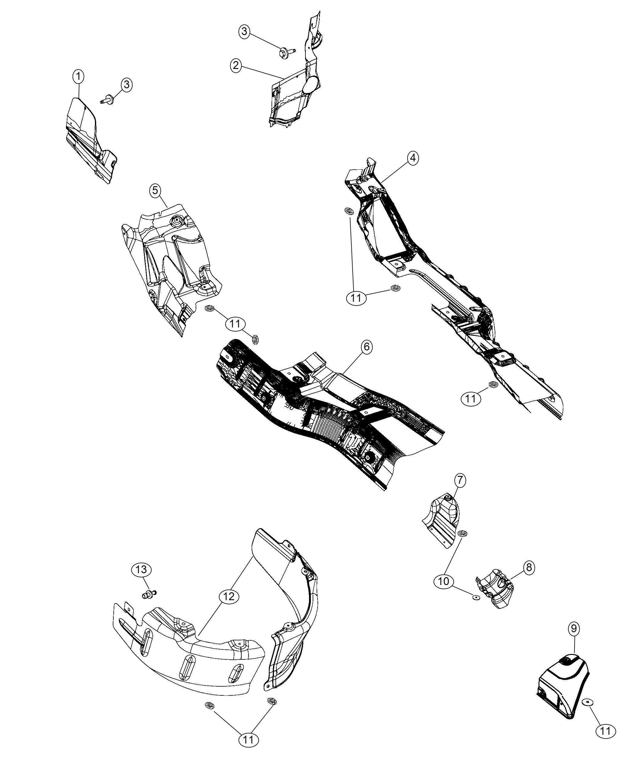 Dodge Durango Shield. Toe pan. Left. Shields, exhaust