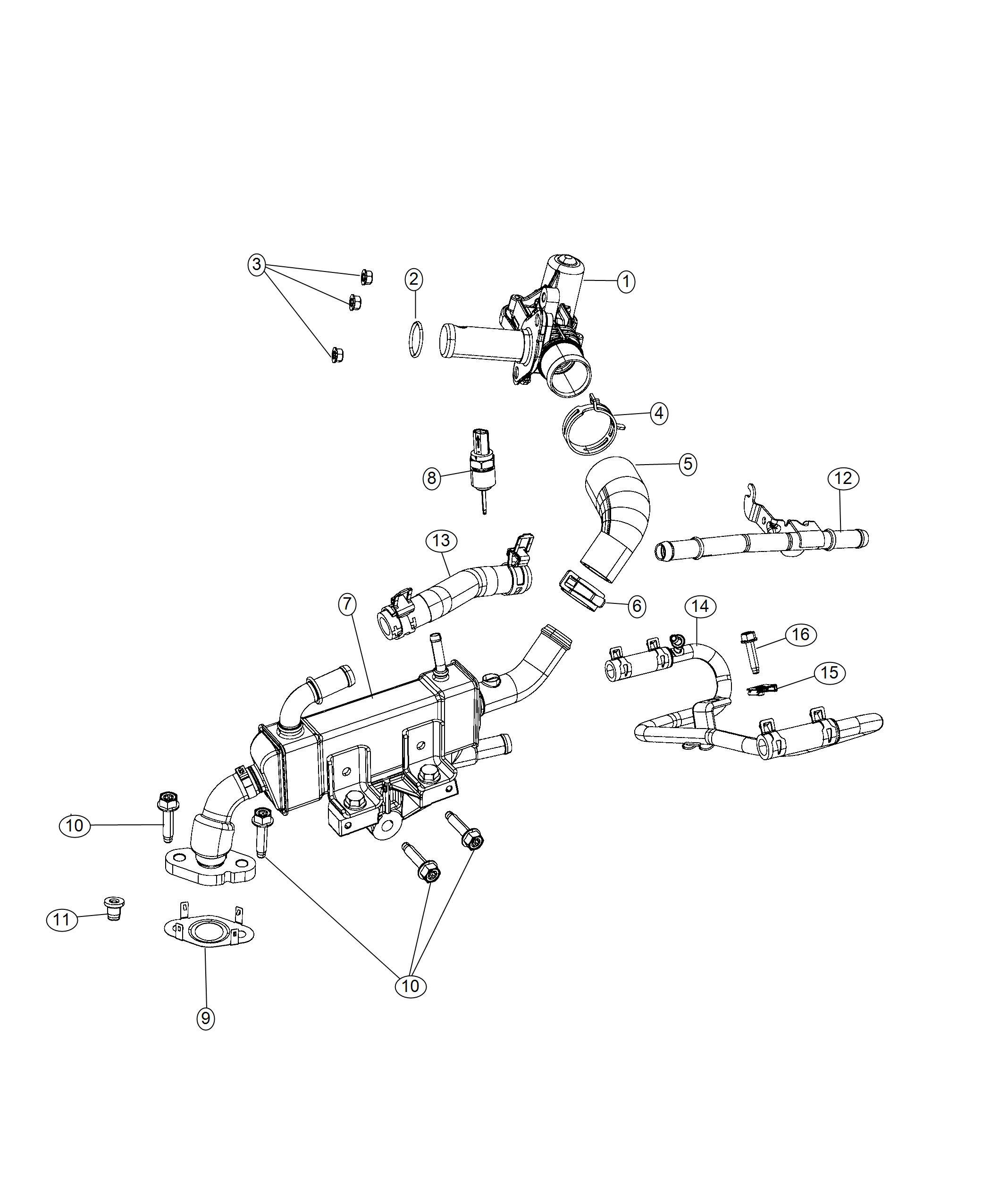 Dodge Durango Hose Egr Cooler Engine Cooling Ess