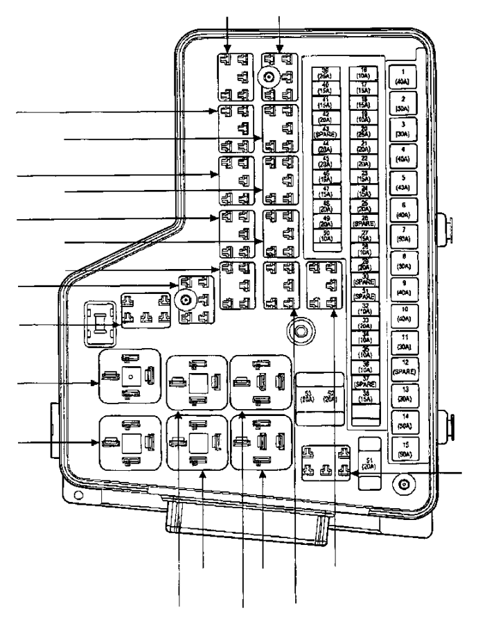 Dodge Ram 1500 Power distribution center. Up to 01/21/03