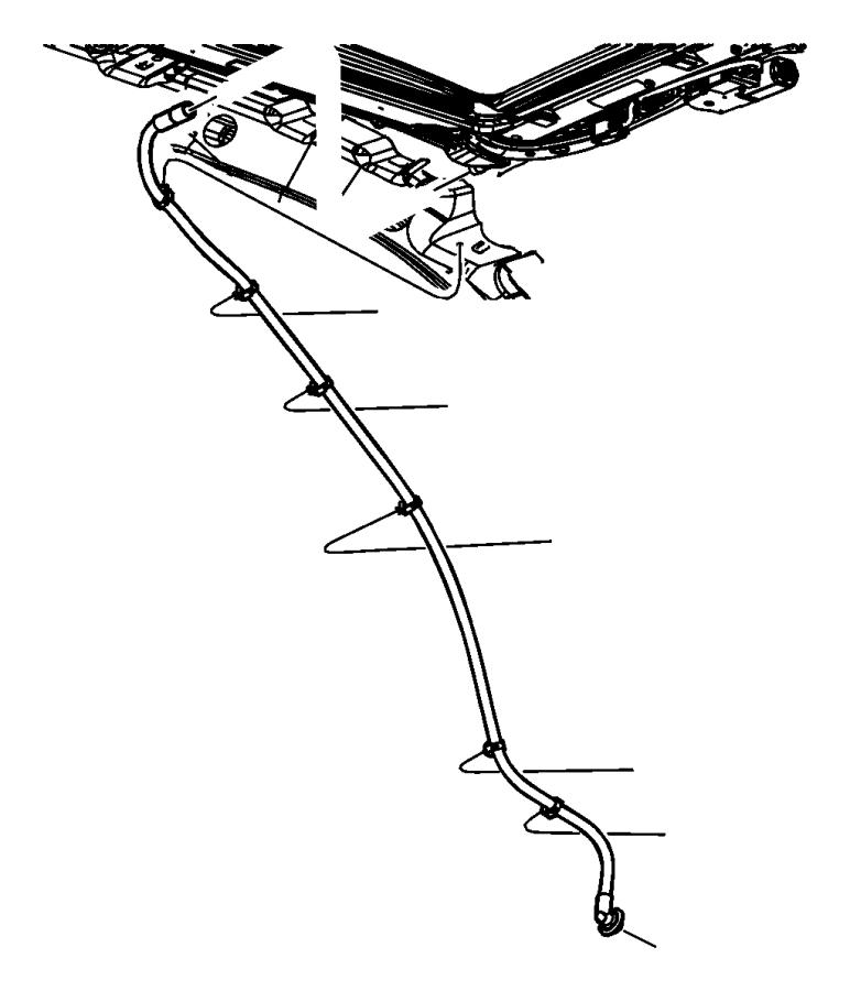 Dodge Durango Hose. Sunroof drain. Front. Left