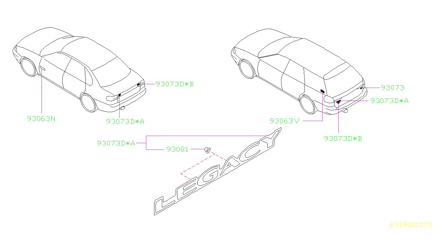 Subaru Legacy Clip. Mark, letter, label, grade, body