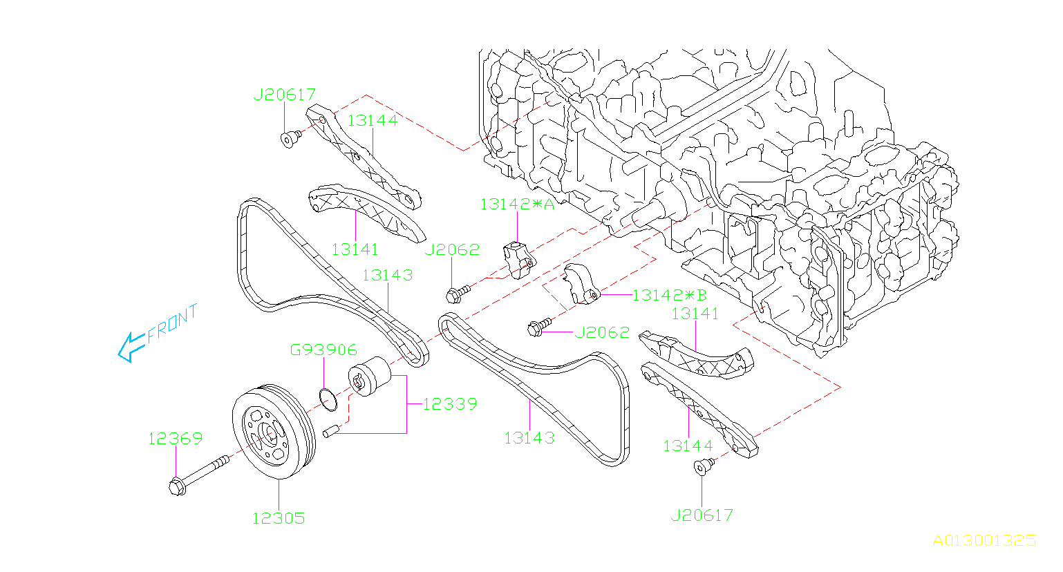 Subaru Legacy Guide-timing chain. 25b:2 20f:1. Camshaft
