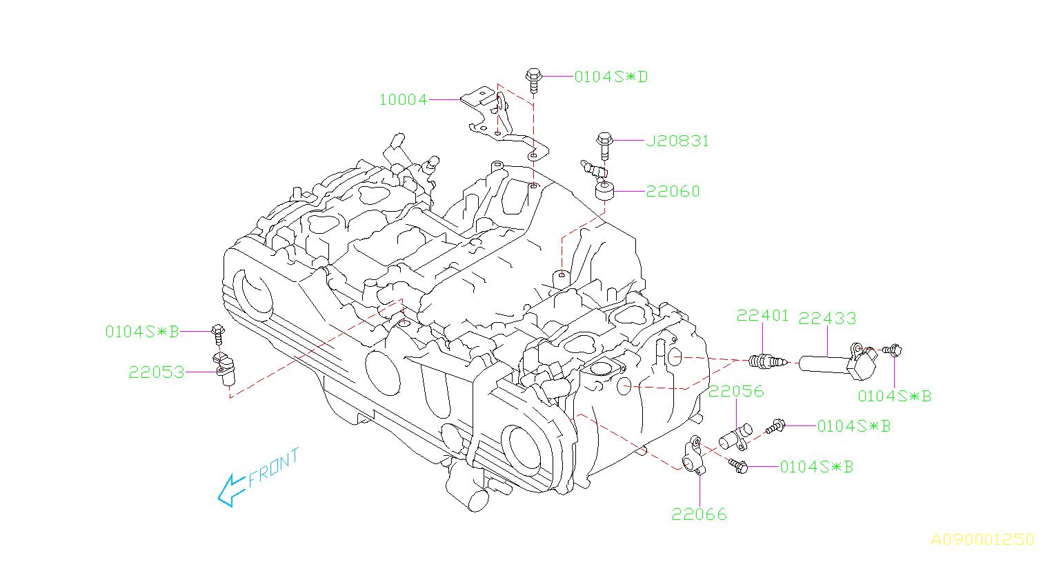 Subaru Outback Spark plug. Tension, cord, high