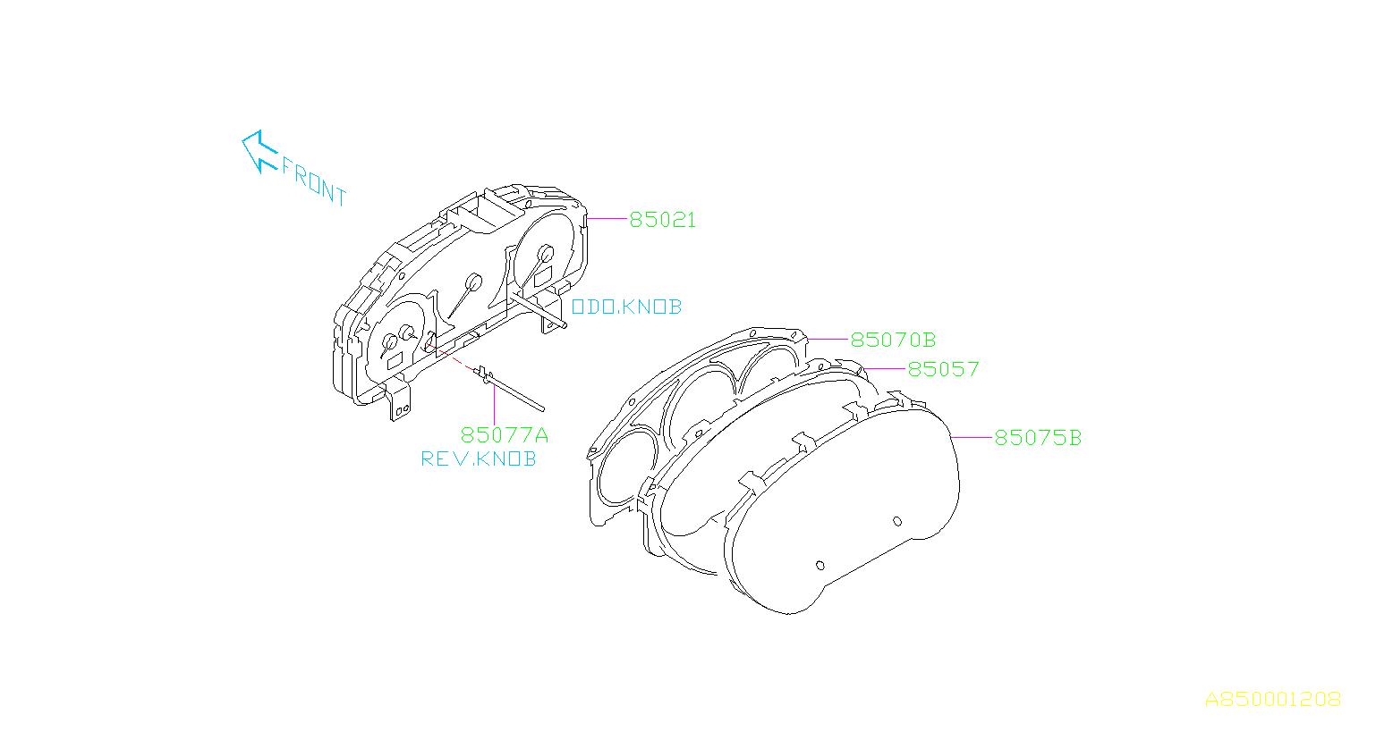 Subaru Impreza Knob kit-combination meter. Exc, electrical