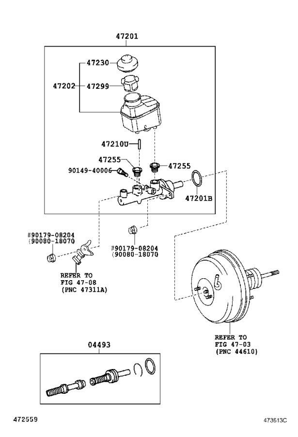 Toyota Solara Brake Master Cylinder Repair Kit. Piston Kit