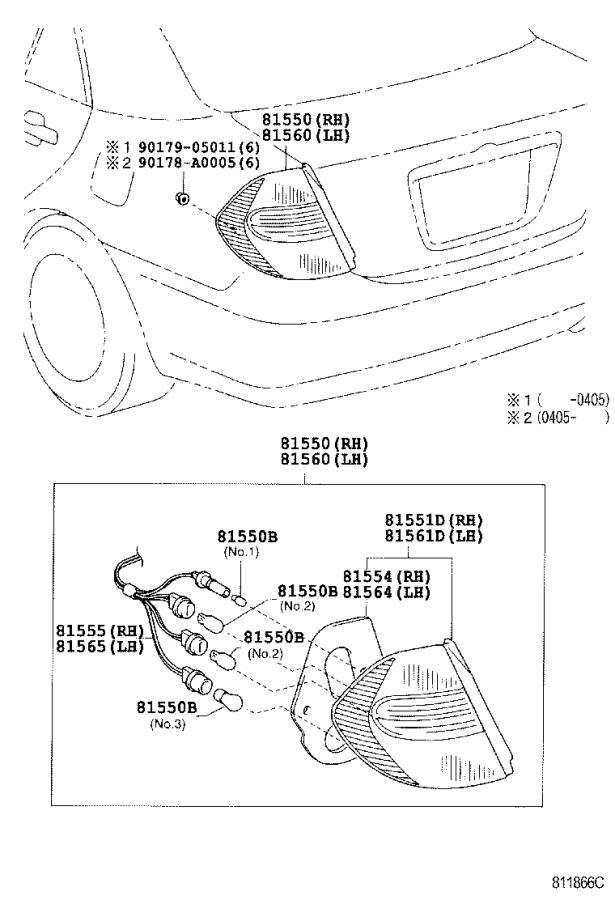 Toyota Camry Tail Light Harness (Left, Right, Rear