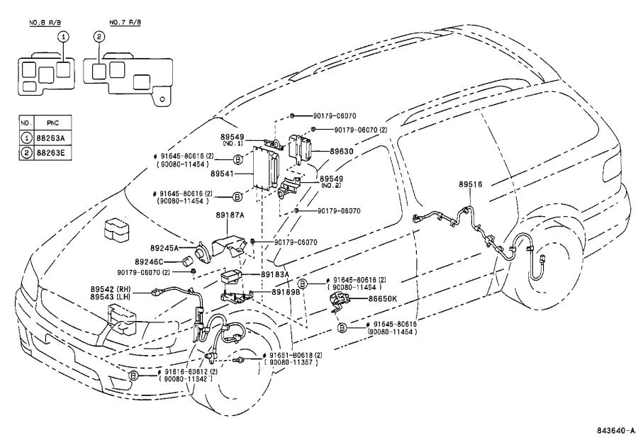 Toyota Sienna Abs wheel speed sensor wiring harness