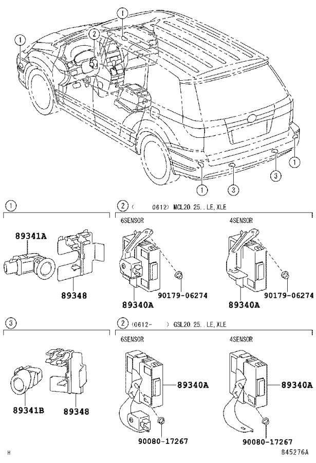 Toyota Sienna Computer assembly, clearance warning. Back