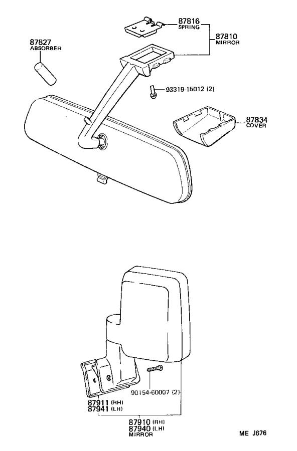 Toyota Land Cruiser Mirror assembly, outer rear view