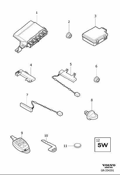 1981 Volvo Starter Key. Remote Controlled Keyless System