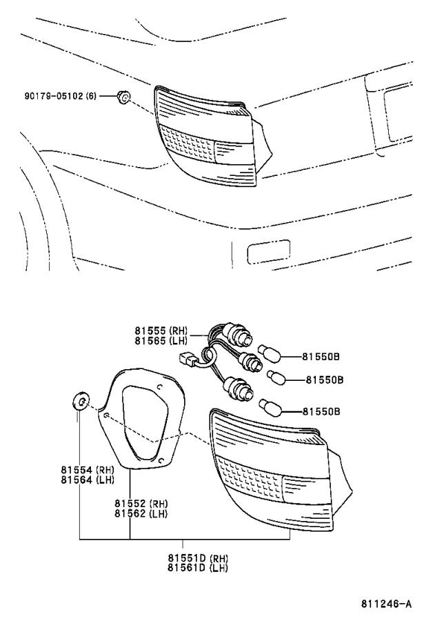 Toyota Celica Tail Light Harness (Left, Right, Rear