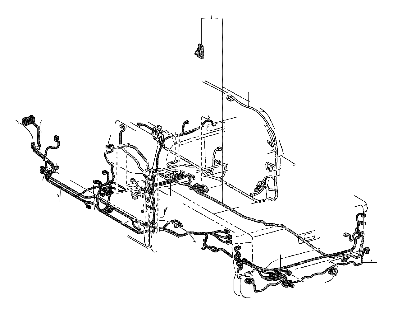 Toyota Tacoma Wire frame, no. 3. Engine, clamp, floor