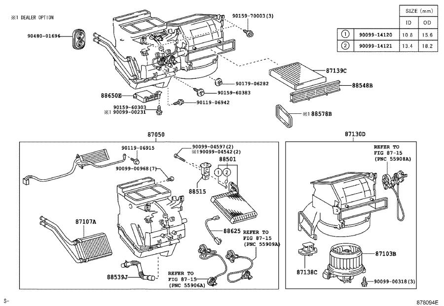 Toyota Yaris Blower assembly. Air, conditioner, usa
