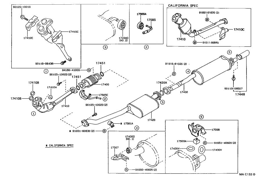 Toyota Cressida Gasket. Exhaust pipe; exhaust pipe, center