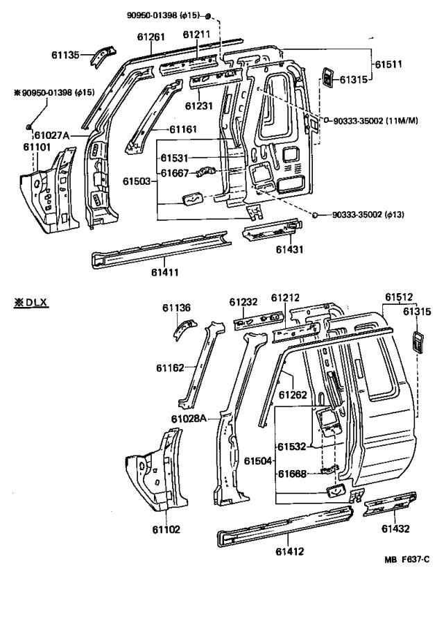 Toyota Truck Pillar sub-assembly, front body, outer left