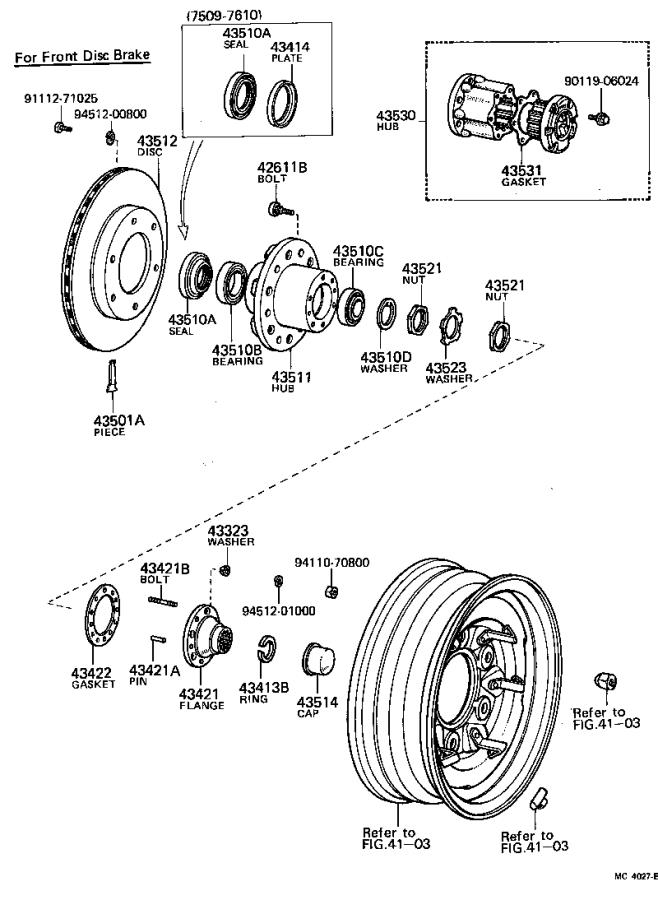 Toyota Land Cruiser Flange, front axle outer shaft