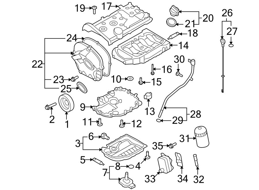Volkswagen Tiguan Engine Oil Pan (Upper). Wagon, BEARINGS