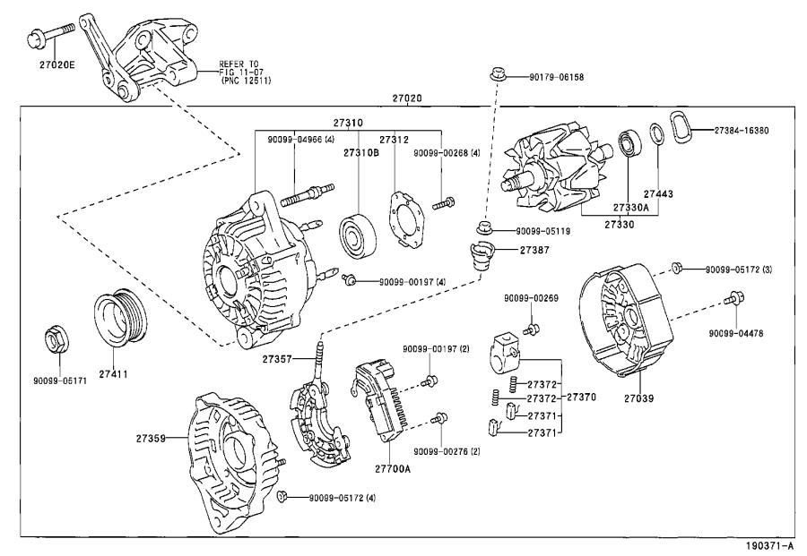 Toyota Tacoma Plate. Bearing retainer, alternator
