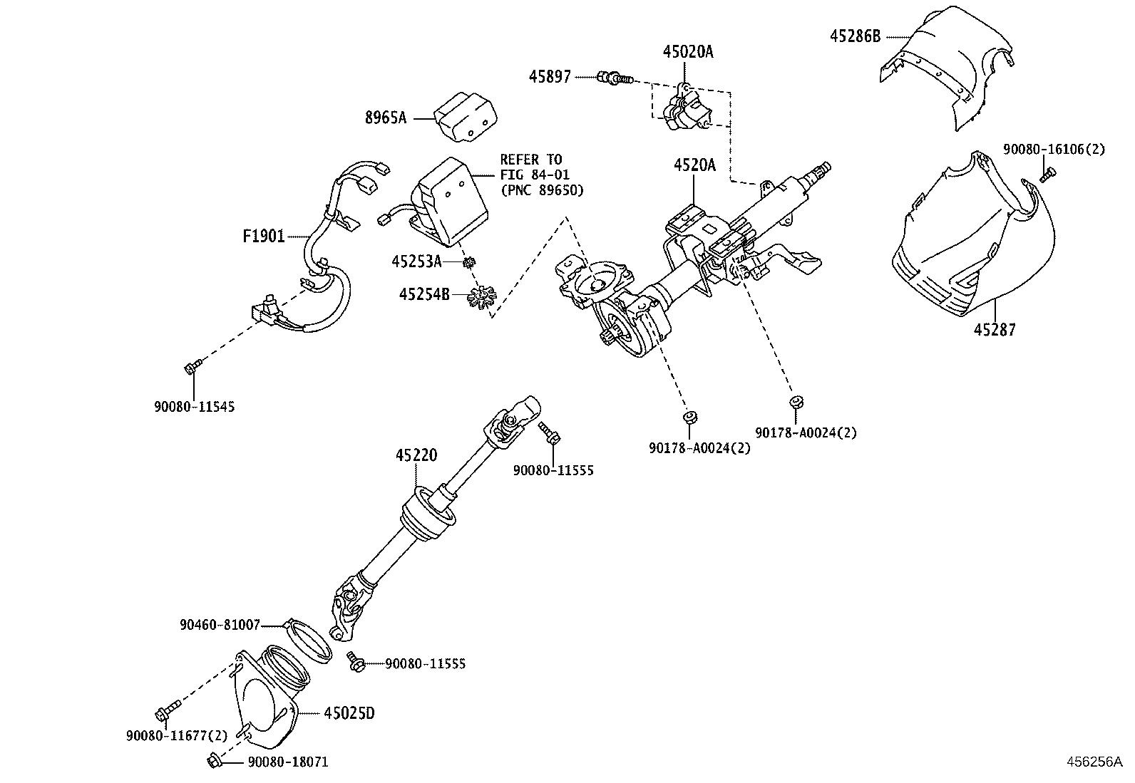 Toyota Avalon Spacer, electric power steering motor shaft