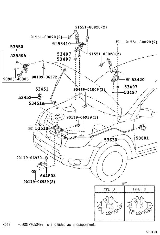 Toyota RAV4 Hood Release Cable. Cable, Hood Lock Control