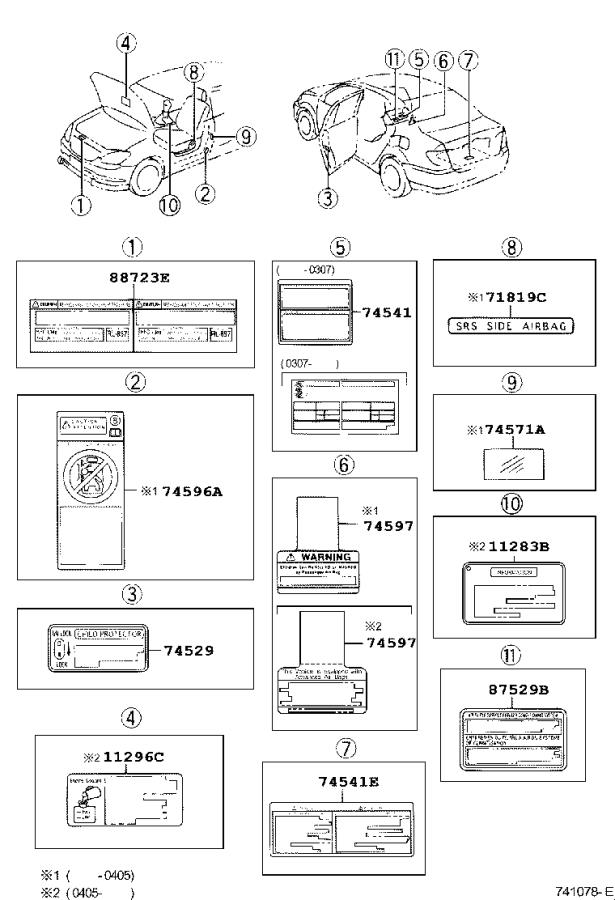 Toyota Corolla A/c system information label. Label, cooler