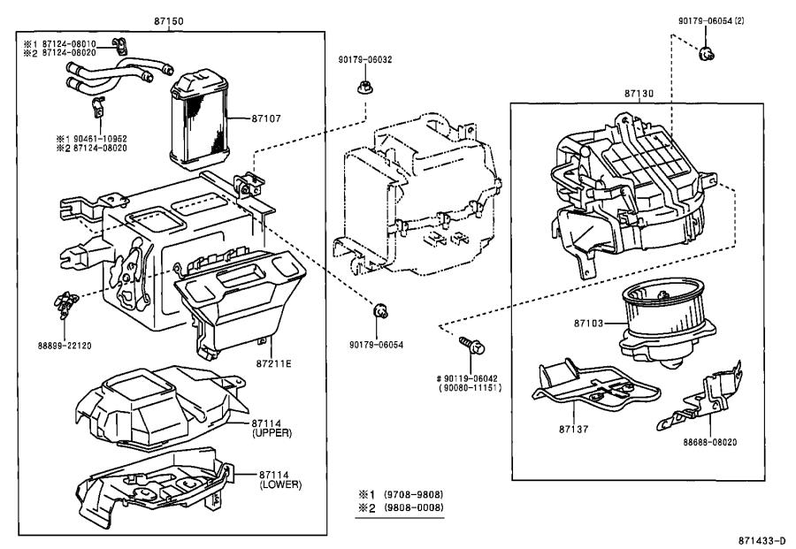 Toyota Sienna Motor sub-assembly, heater blower, with fan