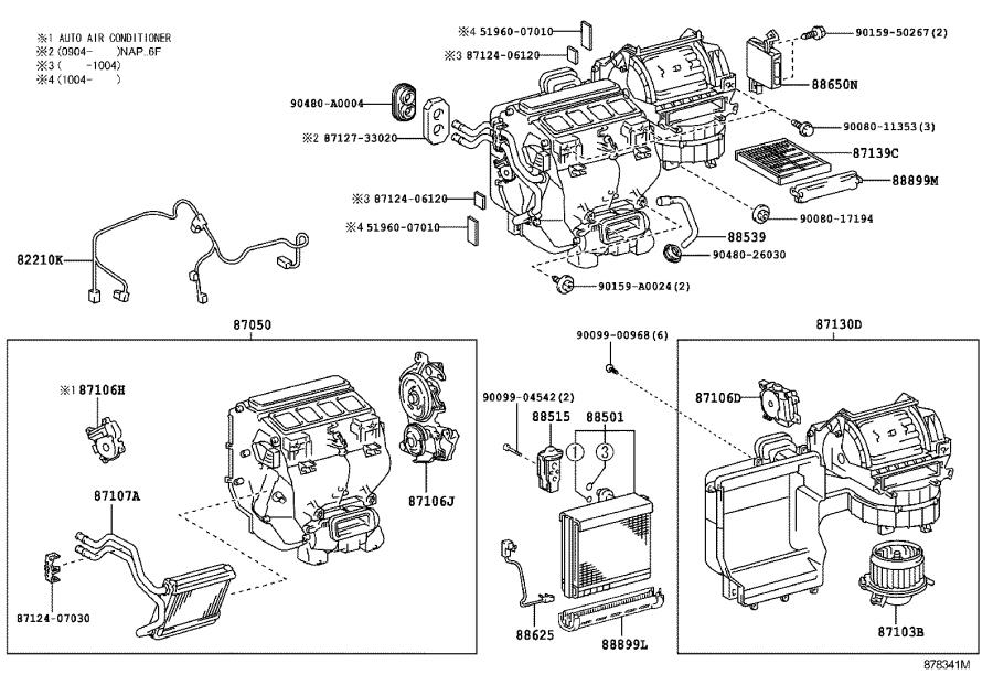 Toyota Camry Hvac system wiring harness. Harness, air