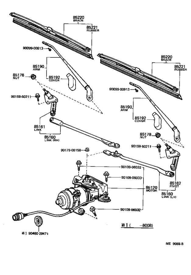 Toyota Tercel Cover, windshield wiper arm. Electrical