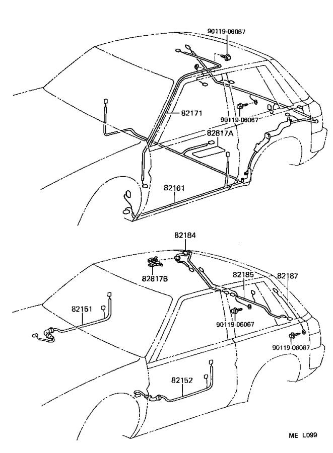 Toyota Tercel Fusible link. Clamp, diode, wire