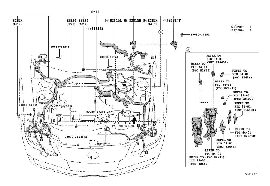 Toyota Avalon Connector, wiring harness. Engine, room