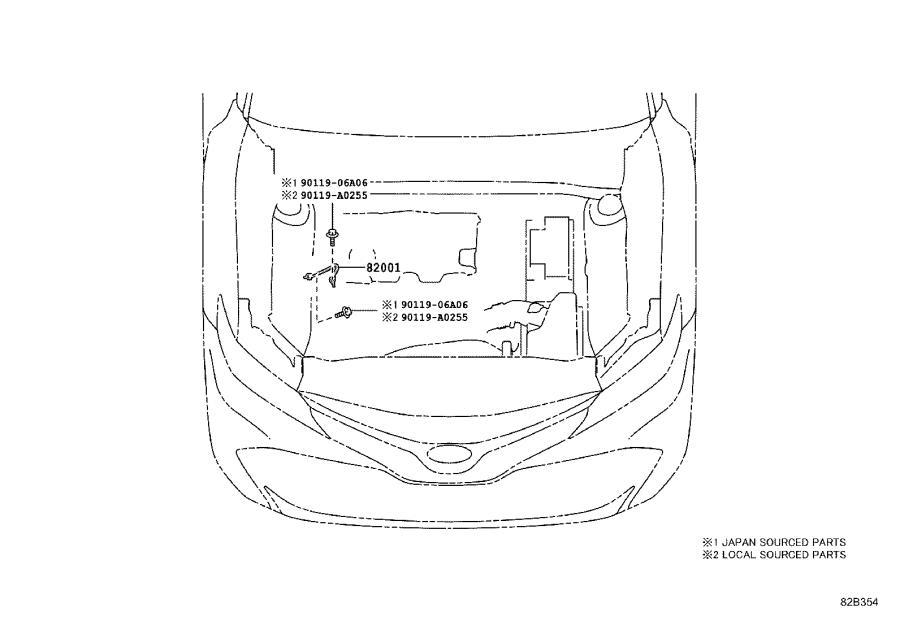 Toyota Camry Wire, roof, no. 1. Engine, clamp, moon