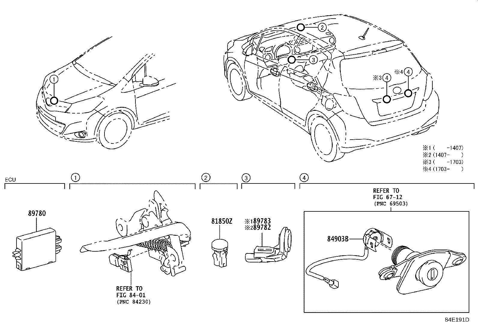 Toyota Yaris Switch sub-assembly, door unlock. Electrical