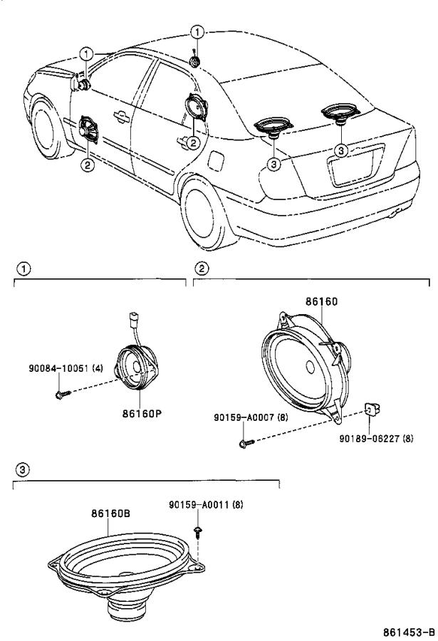 Toyota Camry Speaker assembly, front no. 2. Number