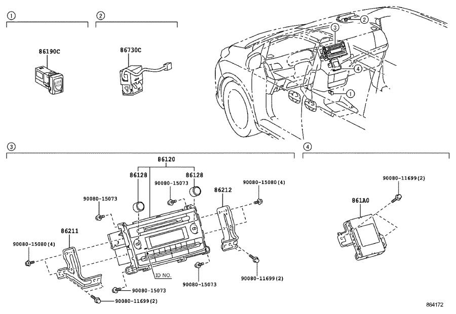 Toyota Sienna Bracket, radio, no. 2. Electrical